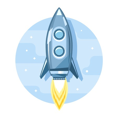 Simple cartoon rocket space ship flying in sky, jet engine with flame, flat style icon illustration Illustration