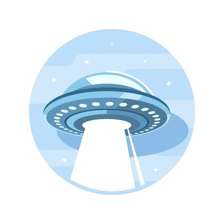 Flying saucer UFO with burning light, flat style icon illustration