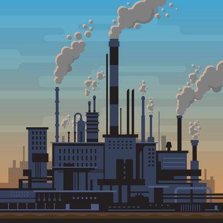 factory power generation: Industrial landscape of manufacturing factory buildings with smoke pipes in sunset. Environmental pollution, smog and fog in sky, ecology concept. Flat style.