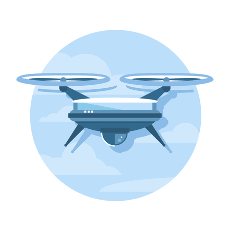 One simple drone, flat style icon illustration