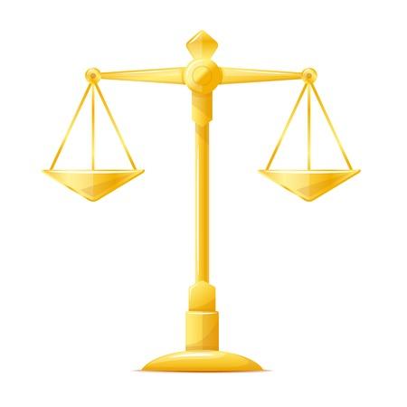 ungleichgewicht: Eine Gerechtigkeit Waage, libra goldenen Metall Illustration, isoliert