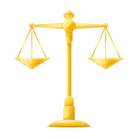 One justice scales, libra golden metal illustration, isolated