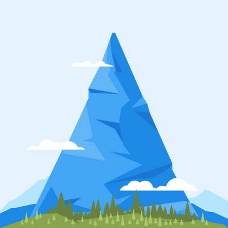 One big mountain with clouds in blue color, simply cartoon illustration, flat style