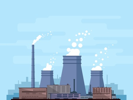 Thermal power station, industrial factory, manufacturing plant with smoke from chimney, environmental pollution, flat style, isolated