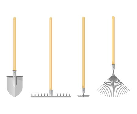 Set of sample gardening tools equipments in colors, shovel and garden rake with hoe, flat style Illustration