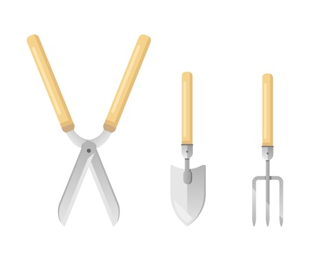 Set of sample gardening tools equipments in colors, garden shears with hand tools, hand rake and hand shovel, flat style