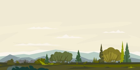 Nature landscape with hills and mountains, bushes with trees and spruces, ground with grass, sample geometric shapes, game background, panorama Illustration