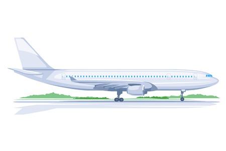 profil: Jedno światło duży samolot pasażerski stojących na ziemi w profilu, izolowane