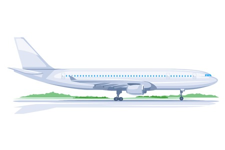 airplane landing: One light big passenger airplane standing on ground in profile, isolated Illustration