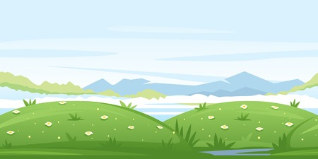 Nature game background with green meadows and glades, ground with plants and flowers, mountains landscape, blue sky, tileable horizontally