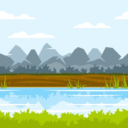 Cartoon mountains near the river with cane and reflection, ground with plants, fishing place, green bushes, nature game background, tileable horizontally