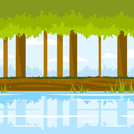Trees with green leaves near the river with cane and reflection, ground with plants, forest landscape, nature game background, tileable horizontally Illustration