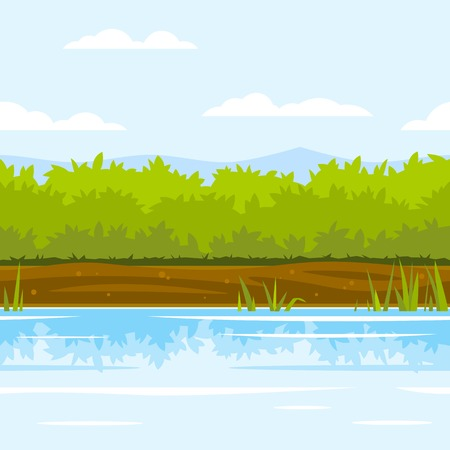 Green bushes near the river with cane and reflection, ground with plants, fishing place, nature game background, tileable horizontally