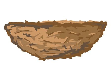 nido de pajaros: Una sencilla vac�o p�jaros marrones nido en perfil, aislado Vectores