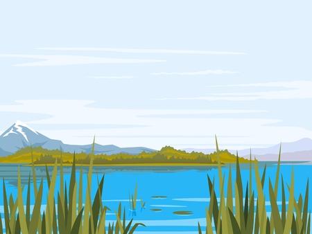 Lac avec des plantes à scirpe, de la canne et de lys, de grandes montagnes avec des sommets de neige, les montagnes, les collines de la forêt, lieu de pêche, nature paysage