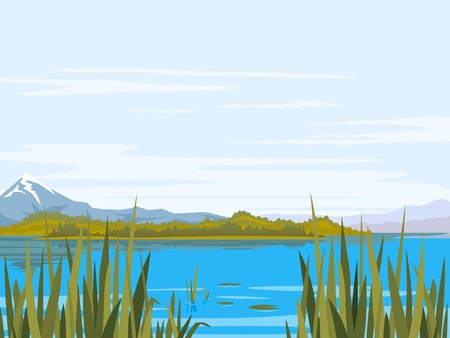 Lake with bulrush plants, cane and lily, big mountains with snow peaks, mountains, forest hills, fishing place, nature landscape Illustration