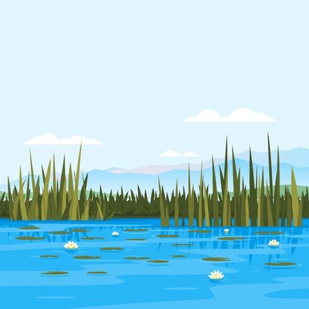 pescando: Lago con el lirio de agua y plantas de enea, lugar de pesca, un estanque con agua azul, antecedentes de viajes lago, naturaleza, paisaje,