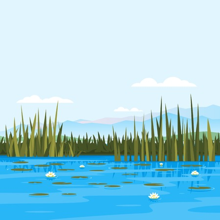 Lake with water lily and bulrush plants, fishing place, pond with blue water, lake travel background, nature landscape Stock Illustratie