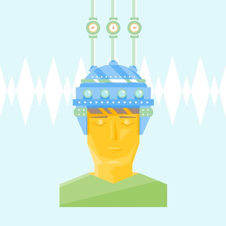 drain: Cartoon helmet on man head with lamps for creation ideas brainstorm brain activity brain drain flat style