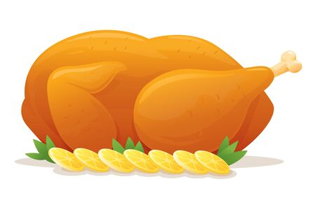 pollo: Pollo asado con rodajas de limón, aislado en blanco Vectores