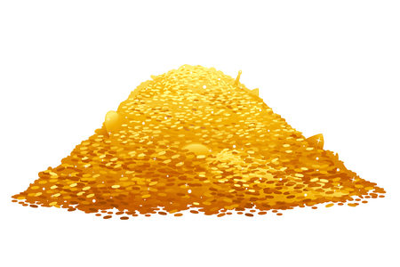 Big treasure of gold coins, wealth concept, isolated