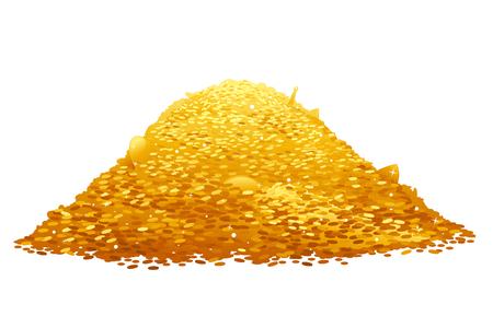 Grote schat van gouden munten, rijkdom concept, geïsoleerd