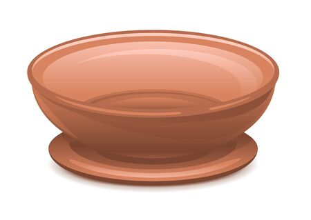 Empty clay brown plate with stand, eps10 illustration Illustration