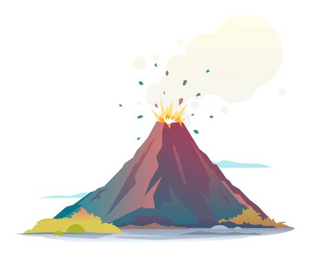 Volcano eruption disgorge lava and smoke, isolated Illustration