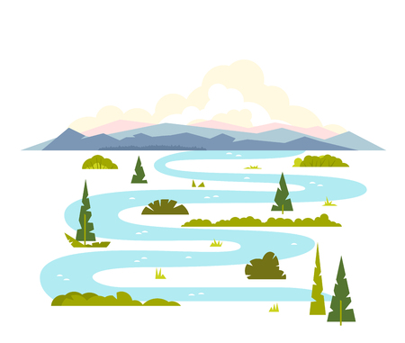 water stream: Meandering river flows from the mountains, wraps around trees and shrubs, sample geometric shapes, flat illustration on white background Illustration