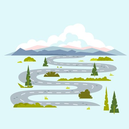 tar: Long winding road through plants and trees to the mountains, journey on nature, travel time