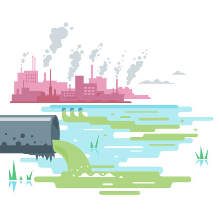 Wastewater Discharge from Plant Illustration