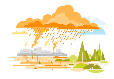 Acid Rain Emissions from Plants Illustration