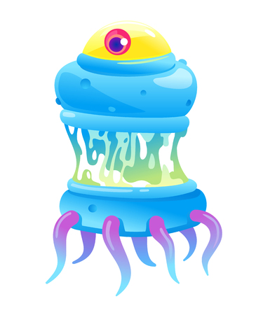 Blue ugly hungry bacteria with one big convex eye in saliva and tentacles, one big cartoon detailed disgusting microbe, nasty ugly isolated germ