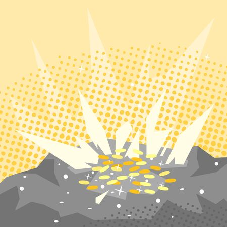 rare: Bright golden coins in rock, treasure found, mining bitcoin concept illustration, vintage grunge texture in flat style Illustration