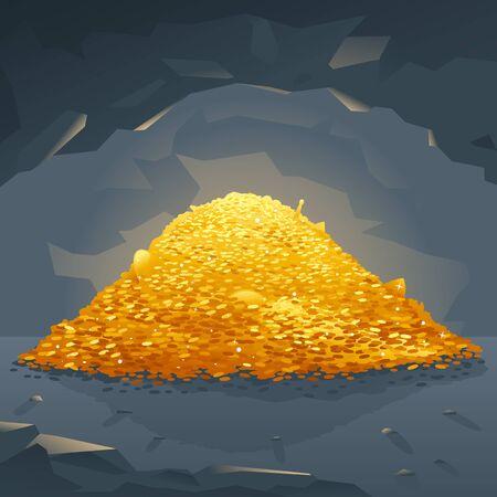 remuneraciÓn: Gran pila brillante de monedas de oro en la cueva oscura, tesoros escondidos en la profundidad de la cueva, la riqueza de la ilustración conceptual