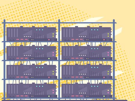 Row of simple network servers in data center in front with many small colored buttons with vintage grunge texture in flat style Illustration