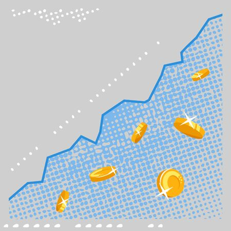 Growth schedule of currency with golden coins in vintage retro style with texture, bitcoin and schedule changes course