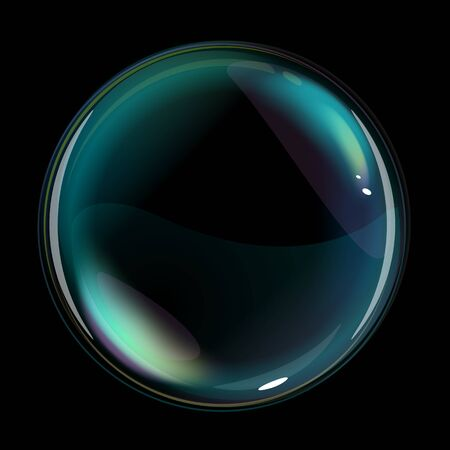 One soap bubble with transparents and opacity masks on black background, quality illustration