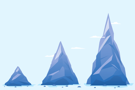 Three mountain on a blue background