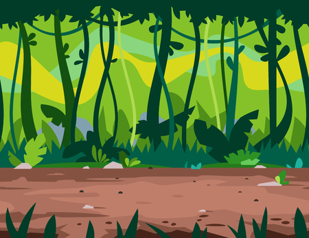 Trail through the wild jungle forest with big green trees overgrown with plants and lianas, nature game background, tileable horizontally