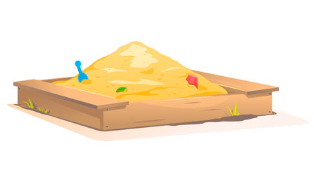 Wooden Sandbox with Sand Stock Illustratie