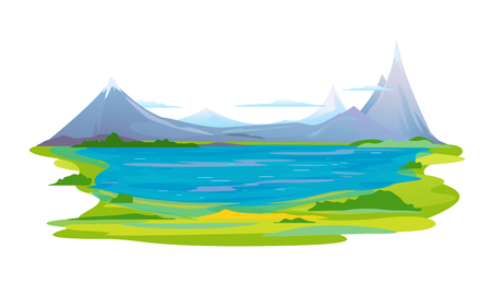 Lake in the picturesque valley near the high mountains with sharp peaks and green piedmont, nature landscape, travel illustration isolated Ilustrace