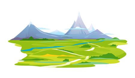 Kronkelende weg naar de bergen Vector Illustratie