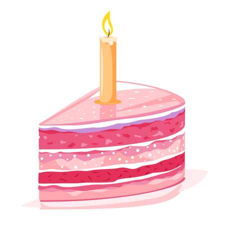 One pink sweet birthday peace of cake with one lighted candle, anniversary greetings isolated Illusztráció