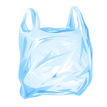 One empty plastic bag with handles, isolated