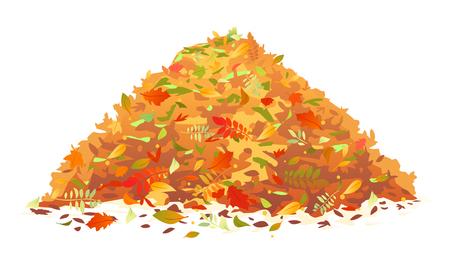 Montón de varias hojas caídas de otoño en colores rojo y naranja, un gran vertedero de hojas, ilustración del concepto de otoño, aislado