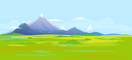 Picturesque valley at the foot of the high mountains with sharp peaks and green piedmont, nature landscape, tourist routes, travel illustration