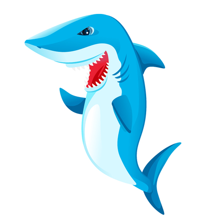One big white shark cartoon with open mouth and waving with a fin in vertical posture, isolated