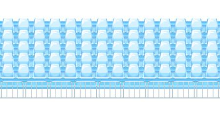 Filas de asientos de estadio de plástico azul en la vista frontal con valla metálica, tribunas vacías antes de los eventos deportivos, enlosables horizontalmente, aislado Ilustración de vector