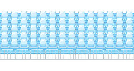 Rows of blue plastic stadium seat in front view with metal fence, empty tribunes before sports events, tileable horizontally, isolated